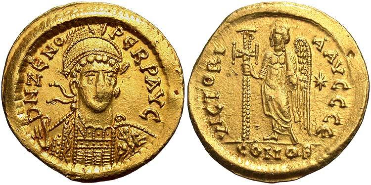 Стародавня монета 1 solidus візантійська імперія (330-1453) золото 476-491 флавій зенон (425- 491) з цінами.