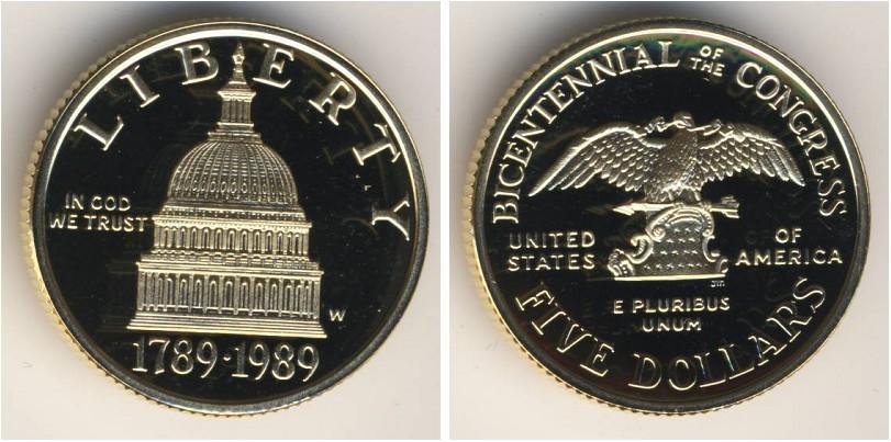 Монета 5 доллар сша (1776 - ) золото 1989 с ценами.