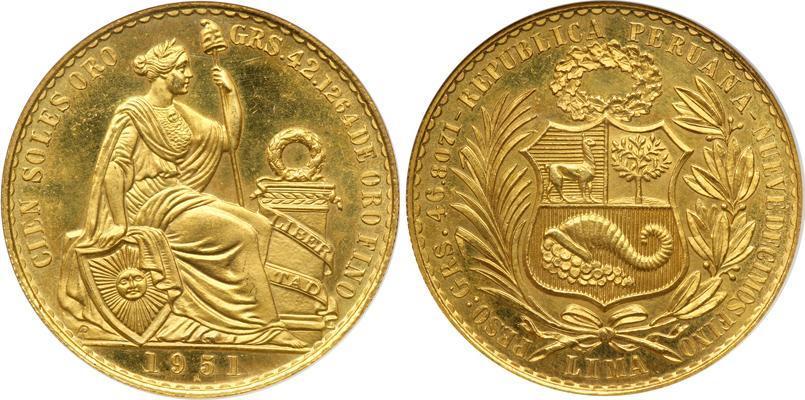 Moneda 100 Sol Per 250 Oro 1951 Precio Km 231 Fr 79
