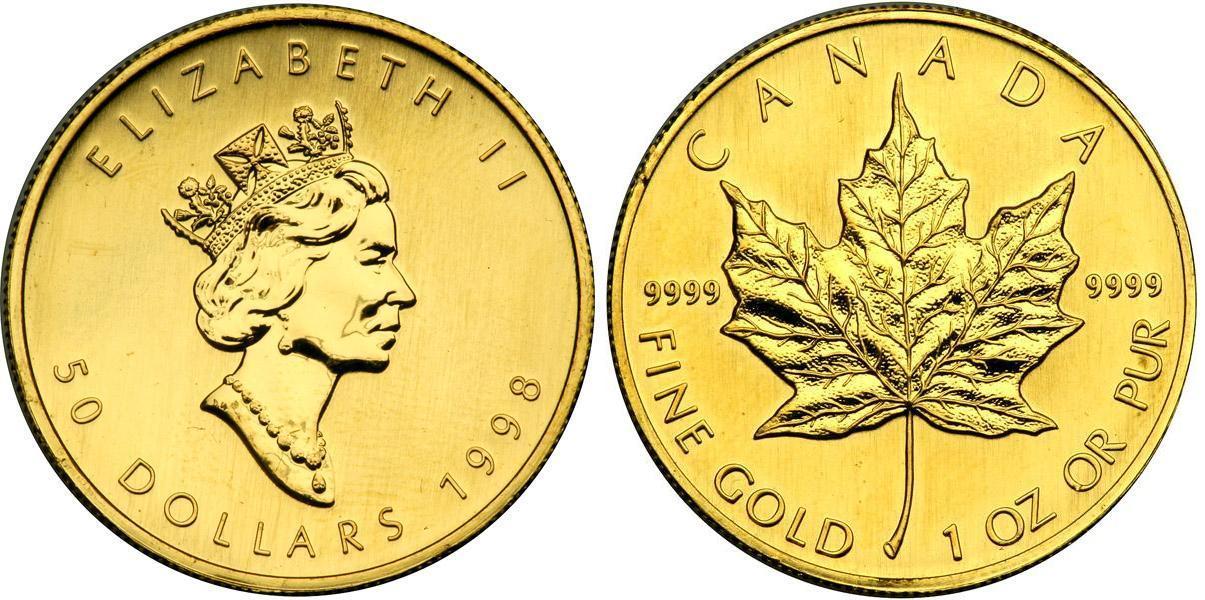 50 Dollar 1998 Canada Gold Elizabeth Ii