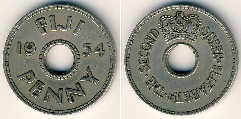 1 Penny 1954 Fiji Copper/Nickel Elizabeth II (1926-) | Prices & Values