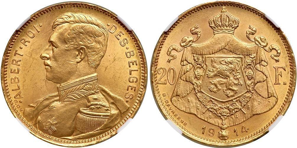 20 Franc 1914 Belgium Gold Prices