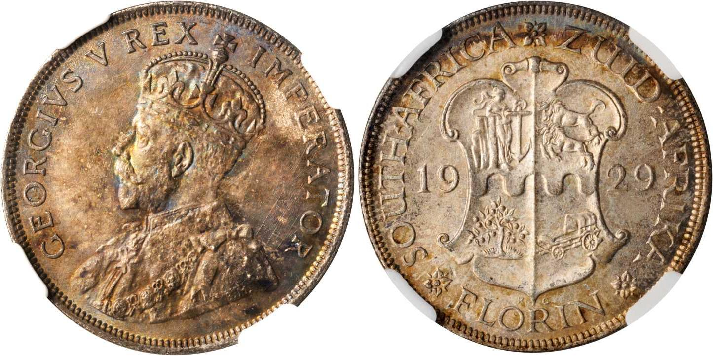 1 Florin 1929 South Africa Sil...
