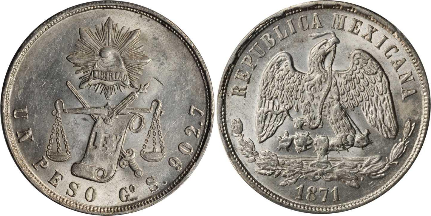1 Peso 1870 United Mexican States 1867