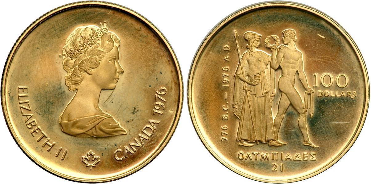 Moneda 100 Dólar Canadá Oro 1976 Isabel II (1926-) precio ...