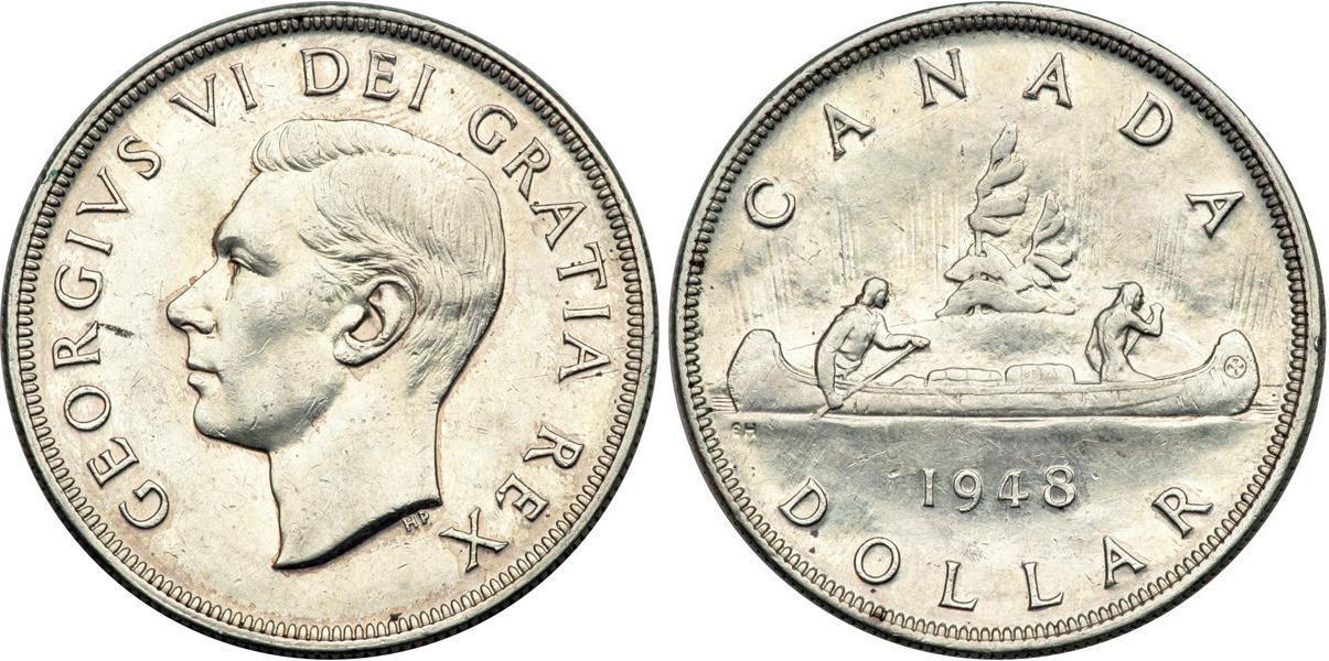Münze 1 Dollar Kanada Silber 1948 Georg Vi 1895 1952 Preis Km 46