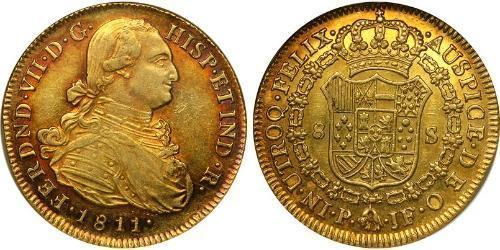 8 Escudo 1811 Viceroyalty of New Granada (1717 - 1819) Gold Ferdinand VII of Spain (1784-1833 ...