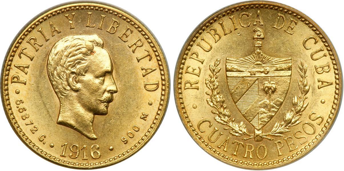 4 peso 1916 gold jose julian marti perez  1853