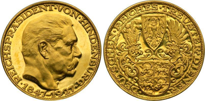 Münze 5 Mark Weimarer Republik 1918 1933 Gold 1927 Paul Von