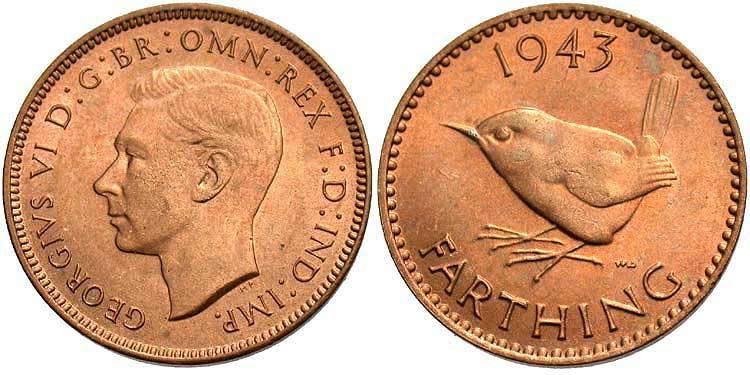 Farthing 1942 - 1949 United Kingdom (1922-) Bronze George VI