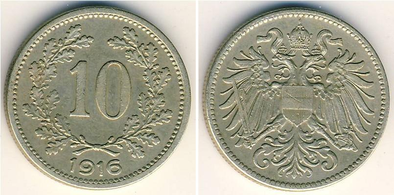 OLD COIN OF AUSTRIA-HUNGARY EMPIRE 10 HELLER 1910 FRANZ JOSEPH I