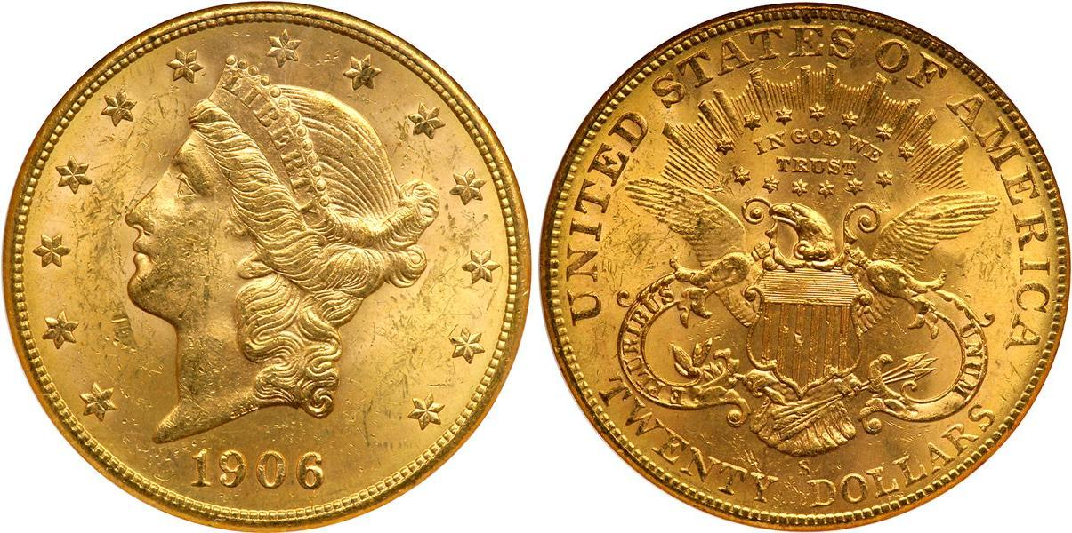 20 Dollar 1906 USA (1776 - ) Gold | Prices & Values