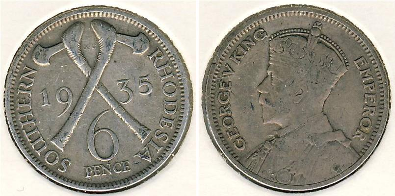 6 Penny 1935 Southern Rhodesia (1923-1980) Silver | Prices