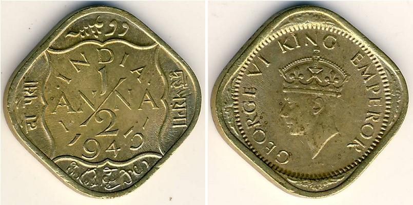 1 2 Anna 1943 British Raj 1858 1947 Brass Nickel Prices Amp Values Km 534