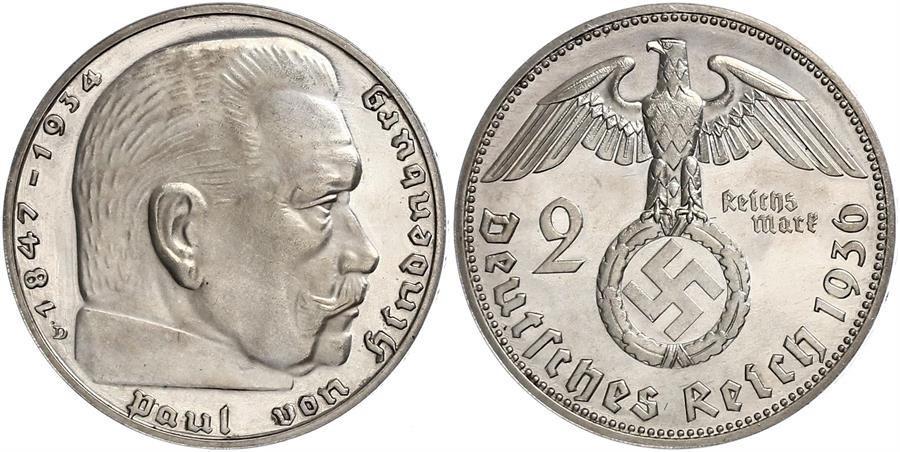 Münze 2 Reichsmark Deutsches Reich 1933 1945 Silber 1937 Paul Von
