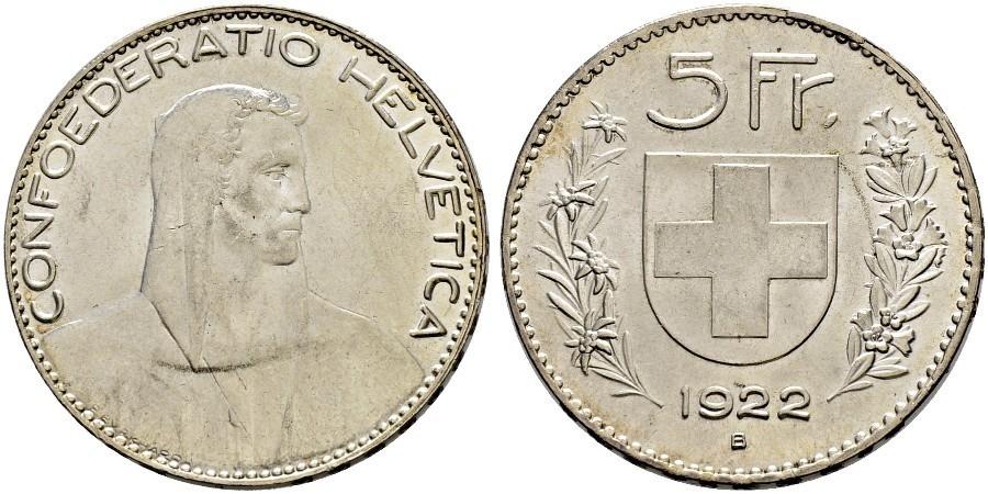 5 Franc 1922 Switzerland Silver | Prices & Values Divo-393