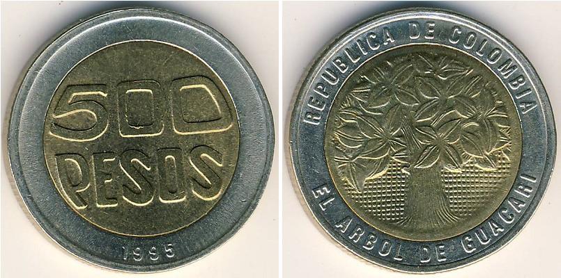 500 Peso Republic Of Colombia 1886 Bimetal