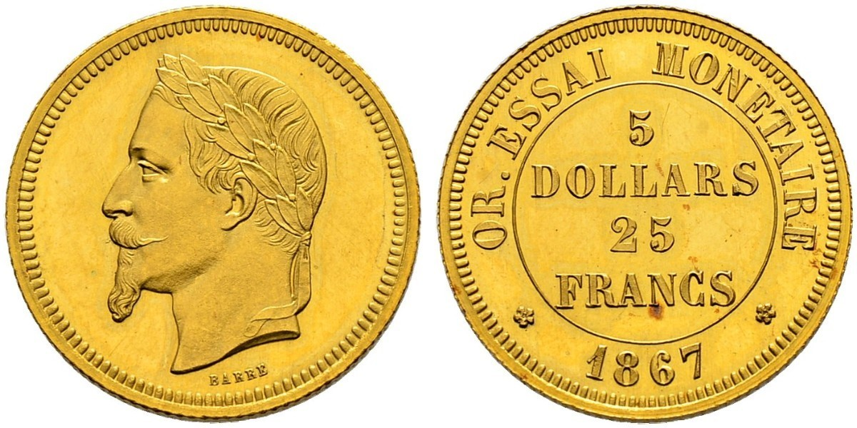 25 Franc 100 Dollar France Gold Napoleon Iii 1808 1873