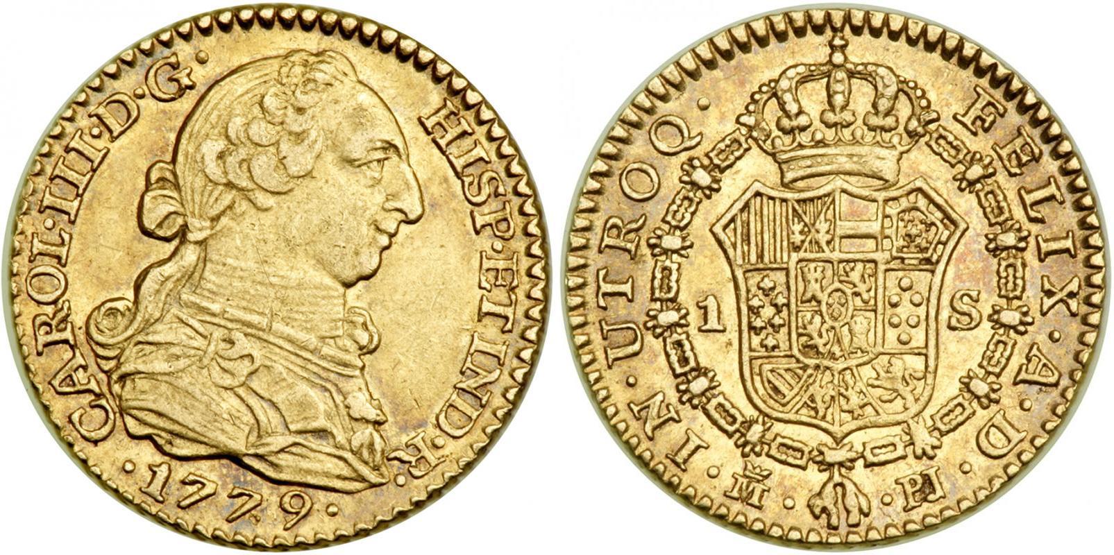 foto de 1 Escudo 1779 Spain Gold Charles III of Spain (1716 -1788 ...