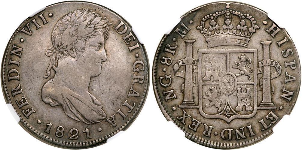 moneda 8 real guatemala    spanish colonies plata 1821
