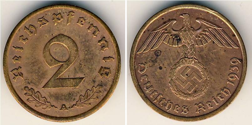 2 Pfennig 1939 Nazi Germany 1933 1945 Bronze Prices Amp Values Km 90