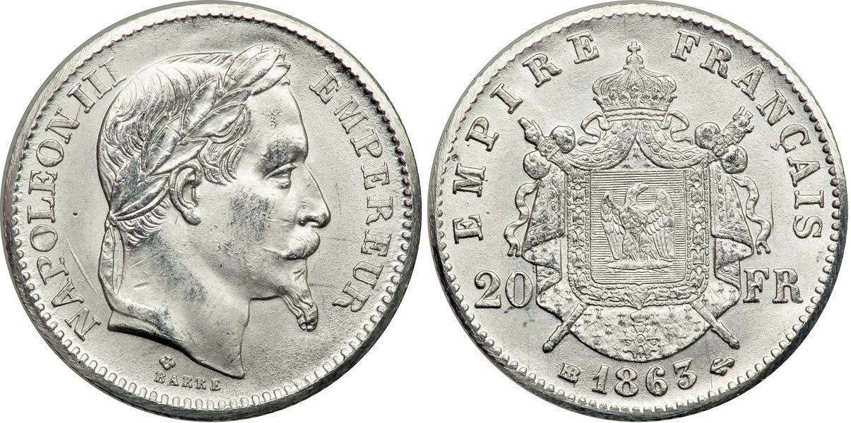 Münze 20 Franc Zweites Kaiserreich 1852 1870 Platin 1863 Napoleon