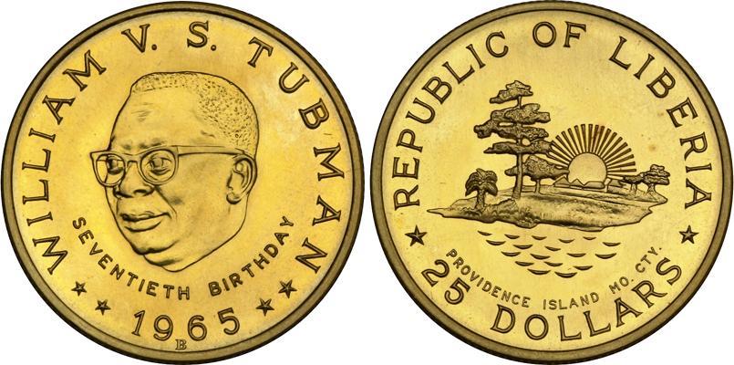 25 Dollar 1965 Liberia Gold William Tubman