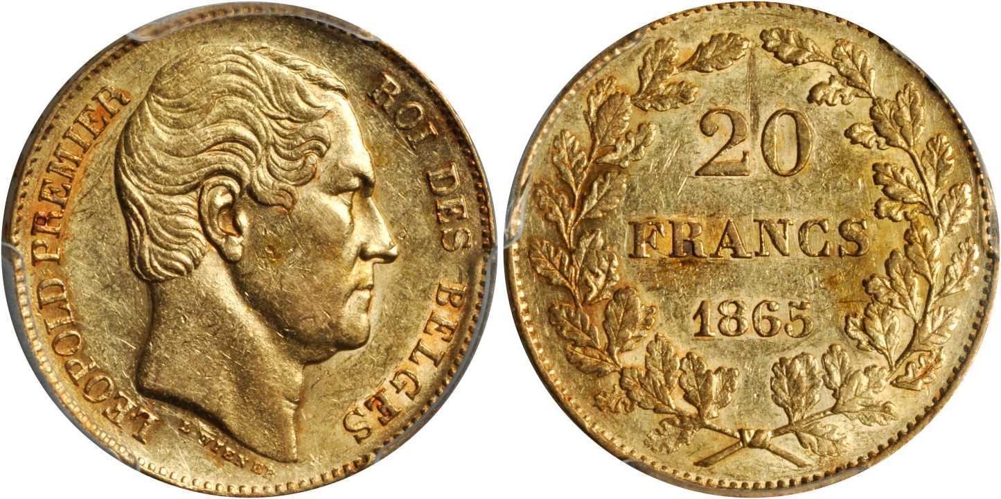 20 Franc 1865 Belgium Gold Leopold I Of