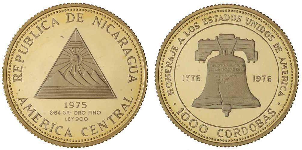1000 Cordoba 1975 Nicaragua Gold Prices Values Fr 3 Km 40