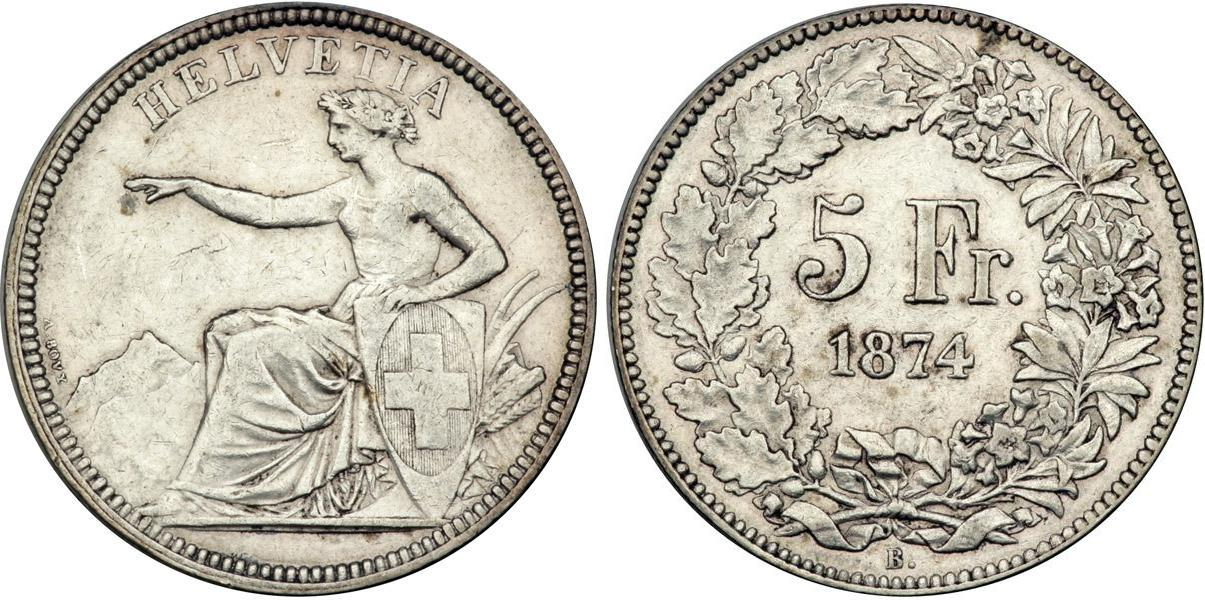5 Franc 1874 Switzerland Silver Prices Amp Values Divo 47 Dav 376 Km 2