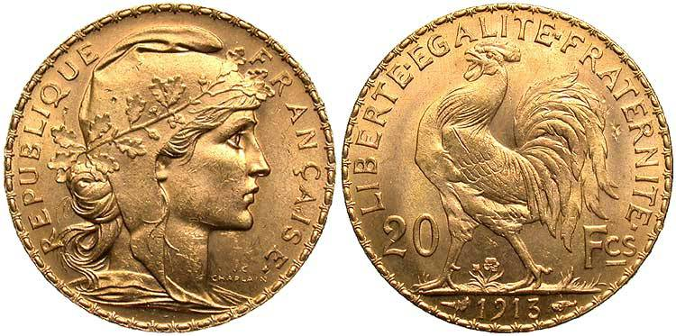 20 Franc French Third Republic 1870 1940 Gold