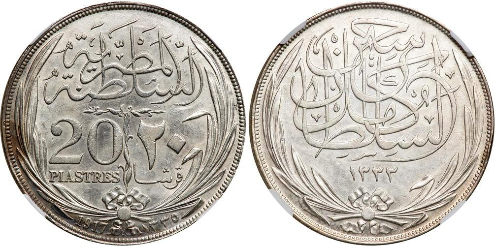 20 Piastre 1916 Sultanate of Egypt (1914 - 1922) Silver Hussein ...