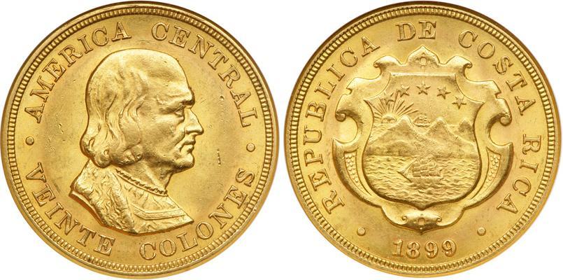20 Colon Costa Rica Gold Christopher Columbus 1451 1506