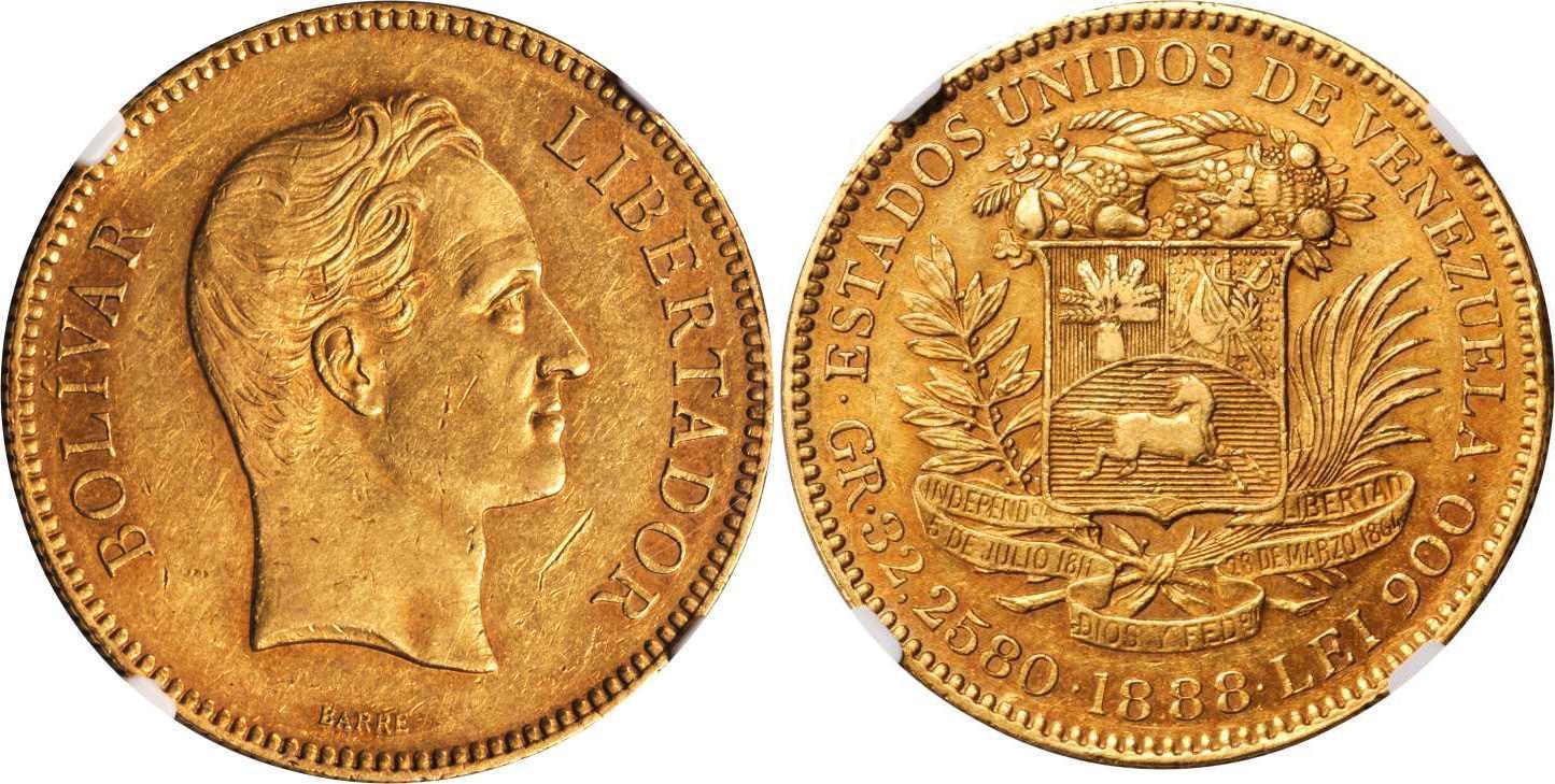 1888 Venezuela Gold Simon Bolivar