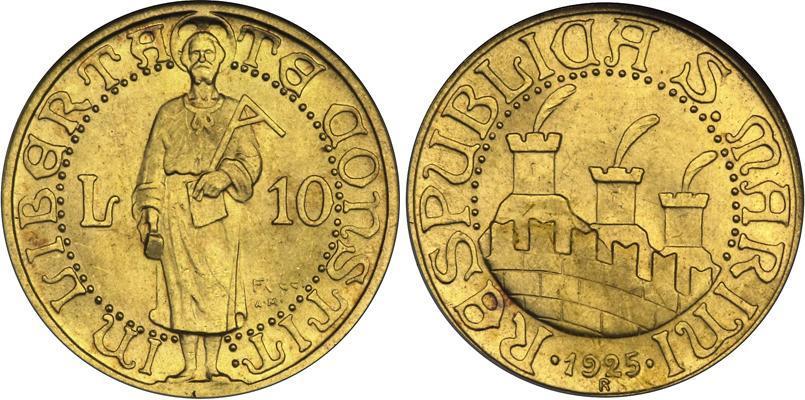 Moneta 10 Lira San Marino Oro 1925 Prezzo KM-7 Fr-2