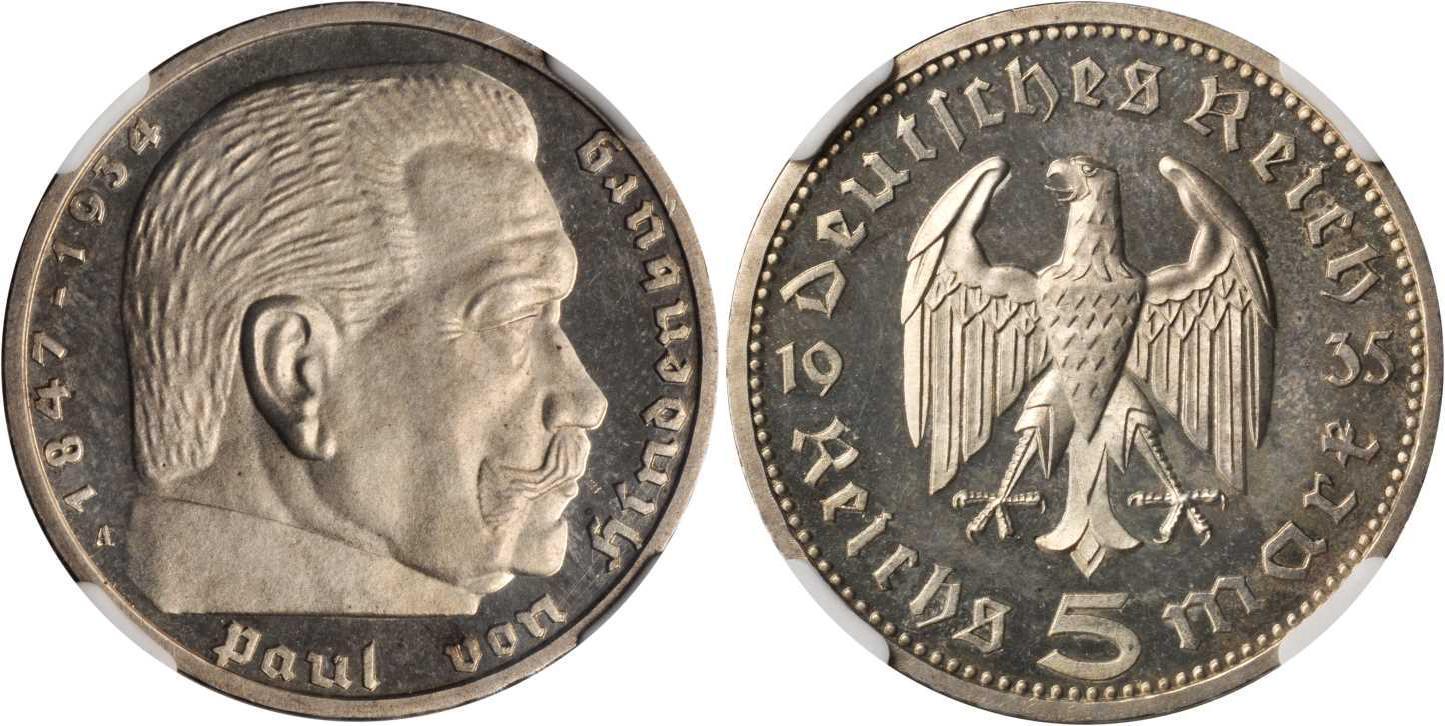 Münze 5 Reichsmark Deutsches Reich 1933 1945 Silber 1935 Paul Von
