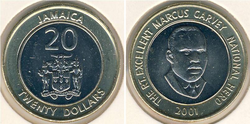 20 Dollar Jamaica 1962 Bimetal