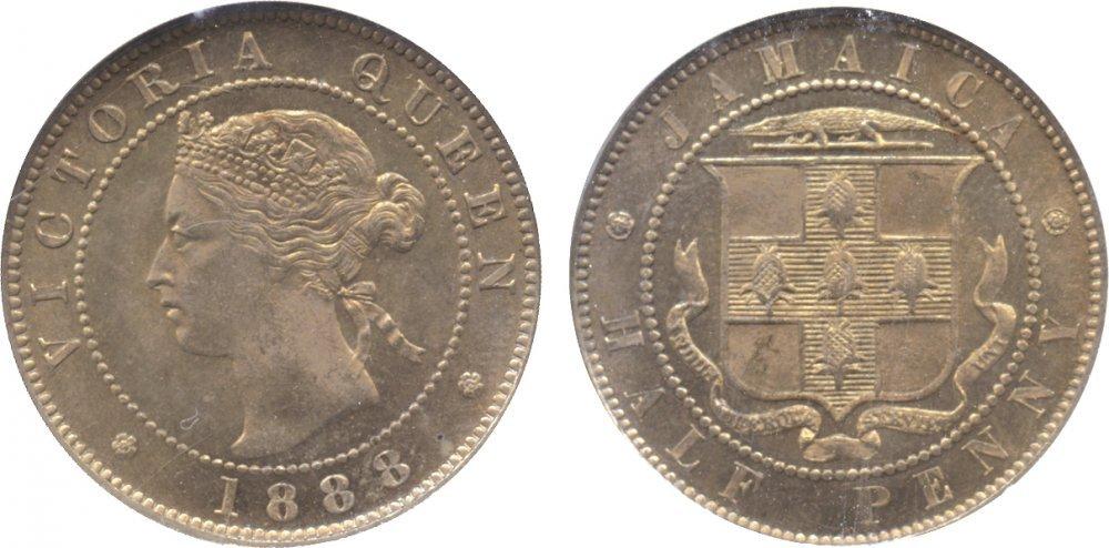 1887 jamaica half penny