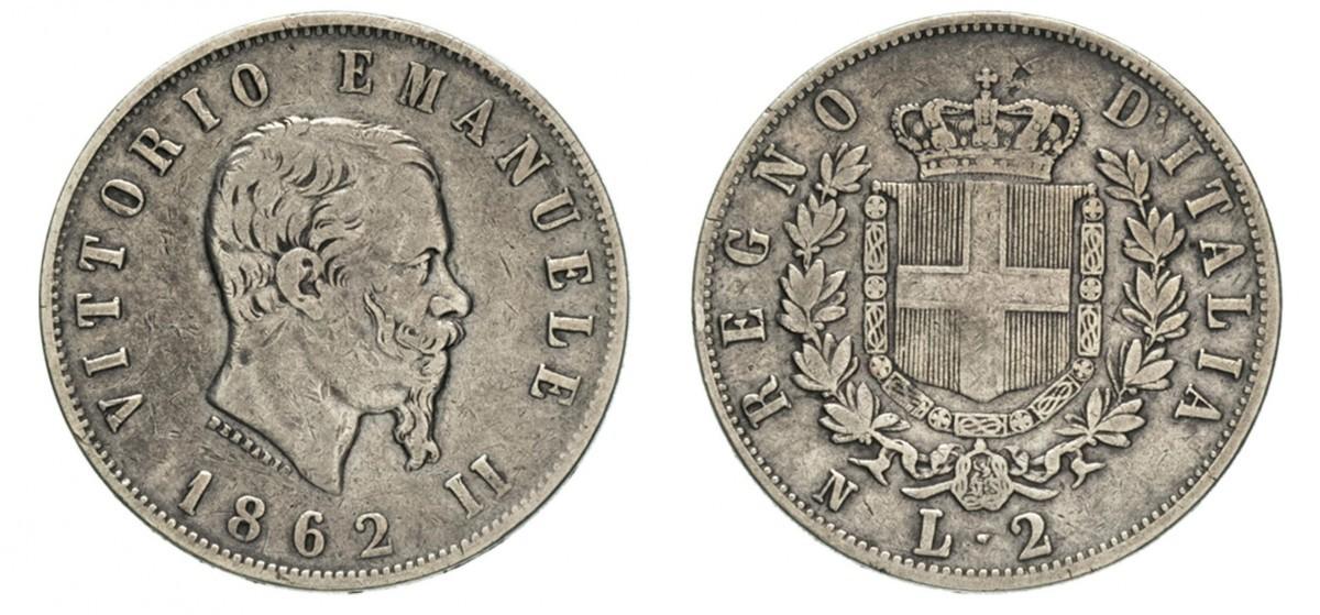 d624e8ef08 2 Lira Kingdom of Italy (1861-1946) Silver Victor Emmanuel II of Italy