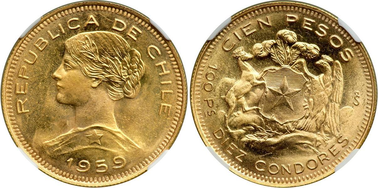 100 Peso 1959 Chile Gold Prices Amp Values Fr 54 Km 170
