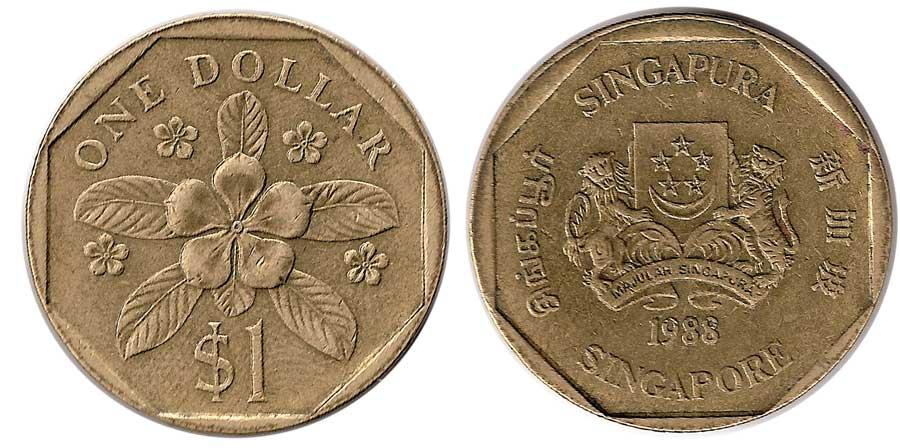 1 Dollar 1988 Singapore India Bronze