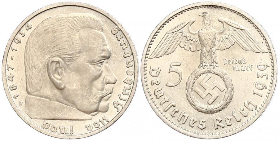 Münze 5 Reichsmark Deutsches Reich 1933 1945 Silber 1937 Paul Von