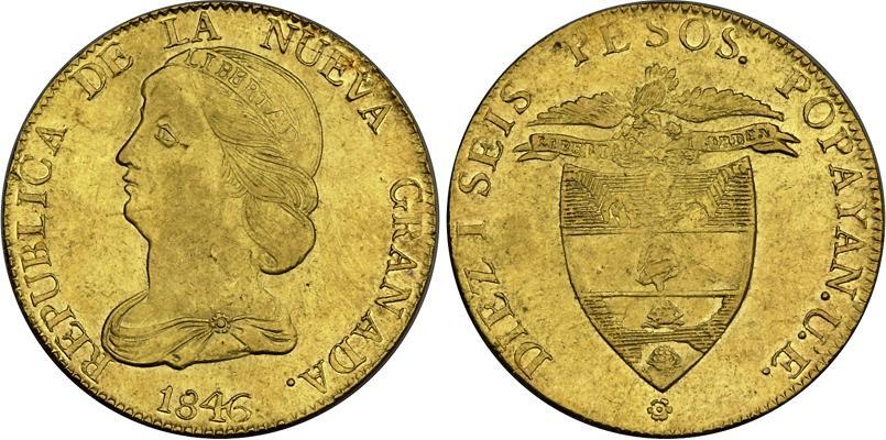 moneda 16 peso rep u00fablica de la nueva granada  1831 u20131858