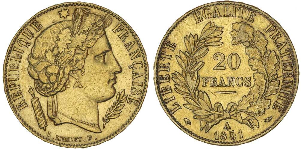 20 Franc 1851 French Second Republic