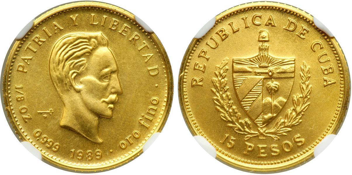 15 peso 1989 cuba gold jose julian marti perez  1853