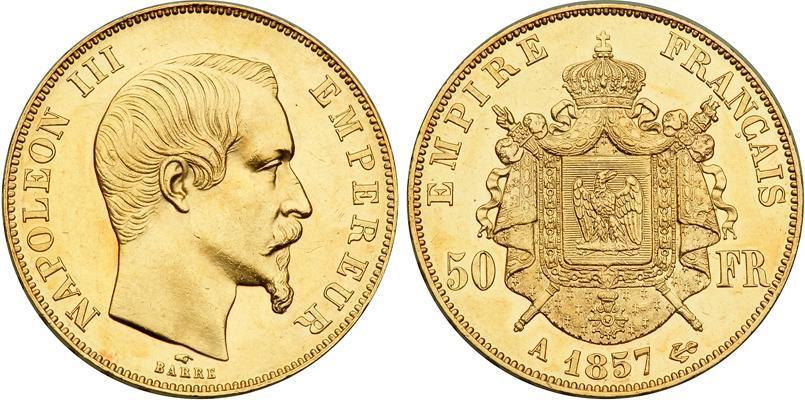 50 Franc 1857 Second French Empire (1852-1870) Gold Napoleon