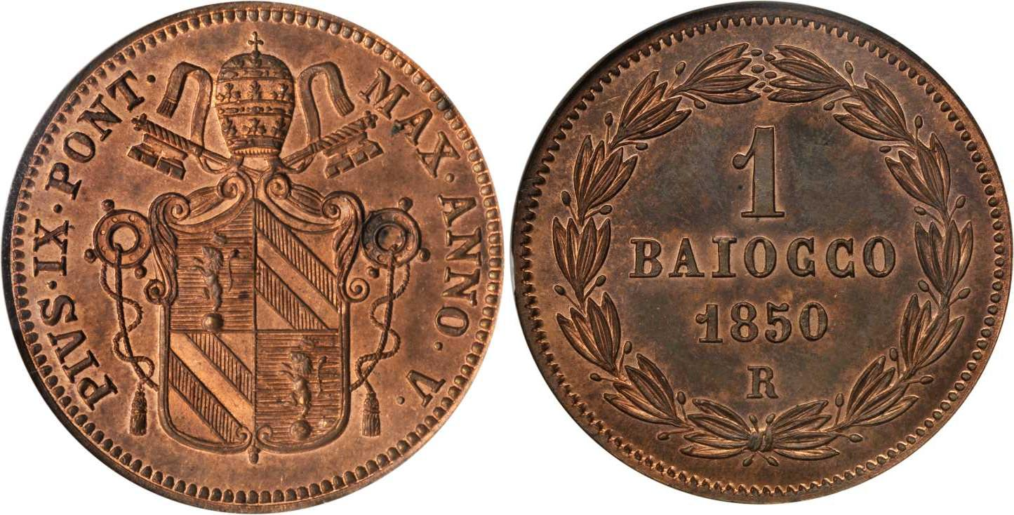 Moneta 1 Baiocco Stato Pontificio (752-1870) Rame 1851 Prezzo