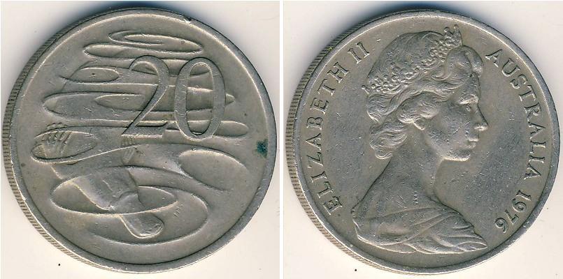 Münze 20 Cent Australien 1939 Kupfernickel 1976 Elizabeth Ii