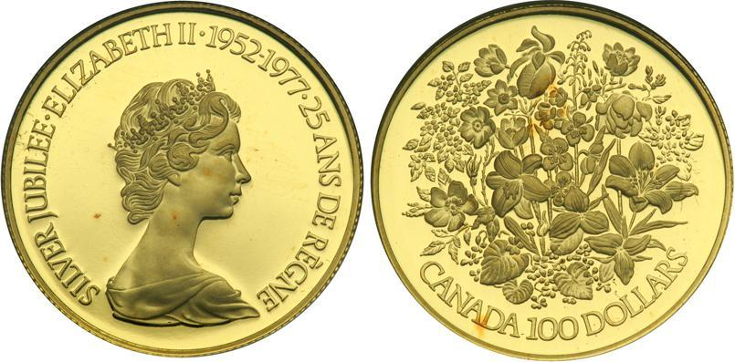 Münze 100 Dollar Kanada Gold 1977 Elizabeth Ii 1926 Preis Km 119