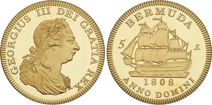 1808 Bermuda Large Nickel Fantasy 5 Shillings Pattern Sailing Ship//George III